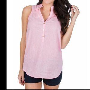 NWT Lauren James Callie Linen Top Candy Size Small